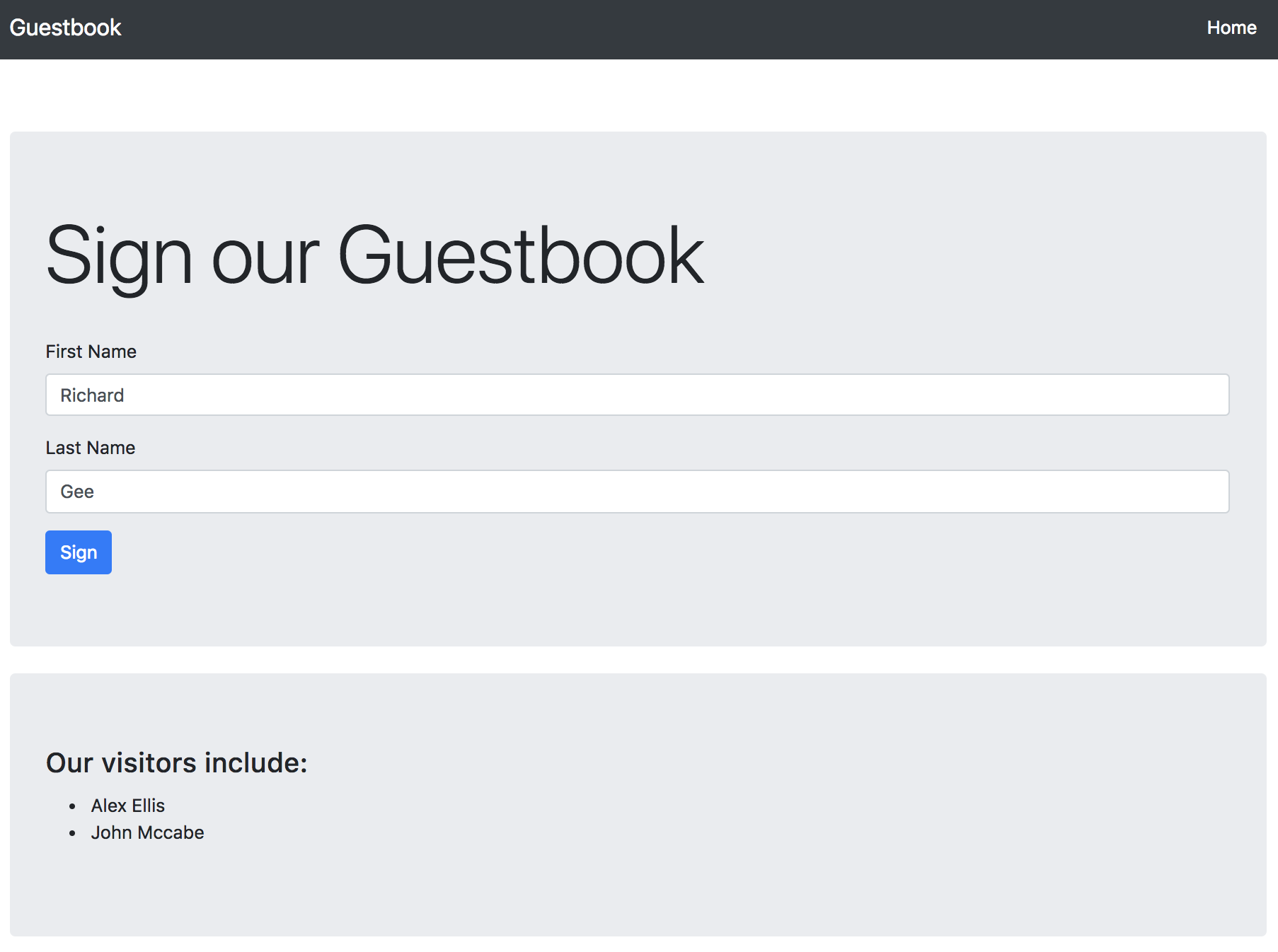 Guestbook screenshot
